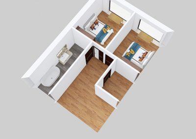 Designová dřevostavba 4kk půdorys
