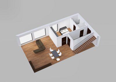 Moderní dům s plochou střechou půdorys