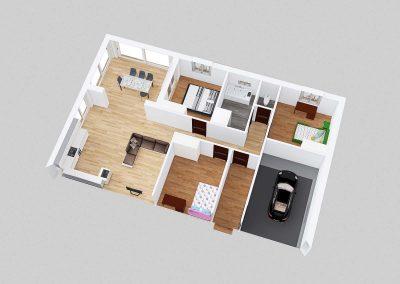 Půdorys vzorového domu typu bungalov